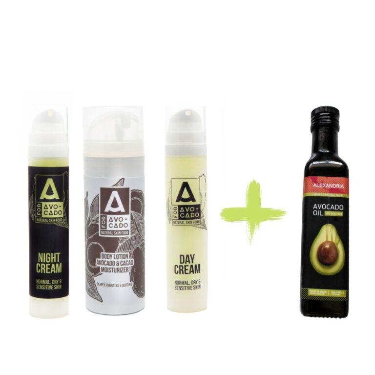 Комплект A for Avocado - Нощен крем, дневен крем и лосион за тяло