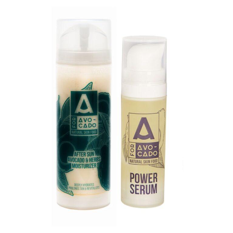 Мощен серум с авокадово масло за регенериране и подмладяване на кожата и Успокояващ крем за след слънце за подхранване и охлаждане на кожата A for Avocado